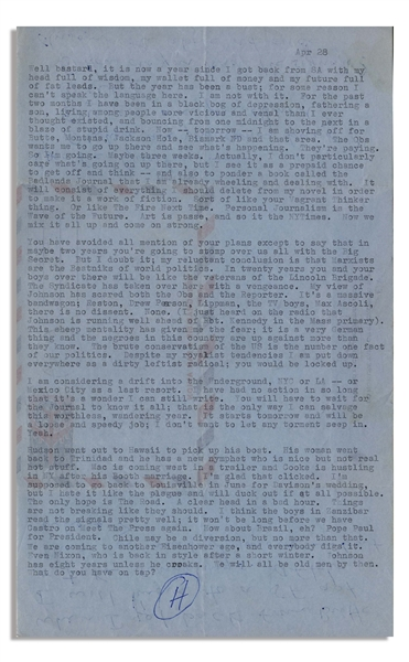 Fantastic Hunter S. Thompson Letter Signed From 1964, With Additional Autograph Note -- ''...Personal Journalism is the Wave of the Future...''
