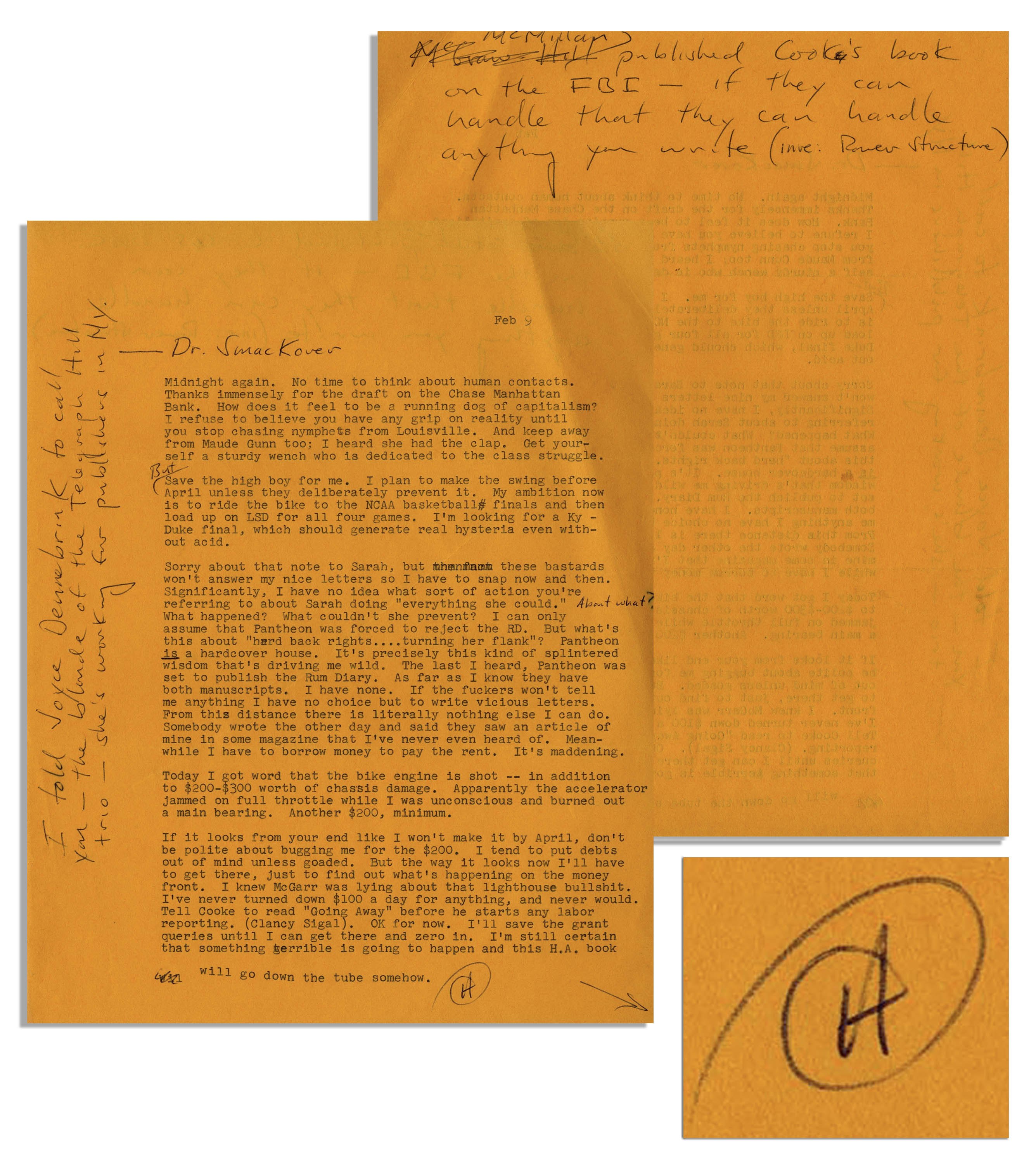 Lot Detail - Hunter S  Thompson Letter Signed -- ''   My ambition