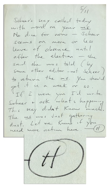 Hunter S. Thompson Autograph Letter Signed -- ''...The ms. [manuscript] was just gathering dust...''
