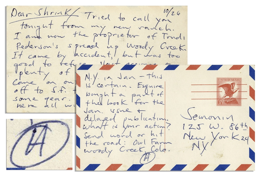 Hunter S. Thompson Autograph Letter Signed, After Planting Roots in Colorado -- ''...I am now the proprietor of Trudi Pederson's spread up Woody Creek...''