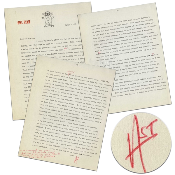 Hunter S. Thompson Letter Signed, With Literary Critique & Mention of the 1968 Democratic Convention -- ''...As for Chicago, I plan to be there...It may be the end of the world as we know it...''