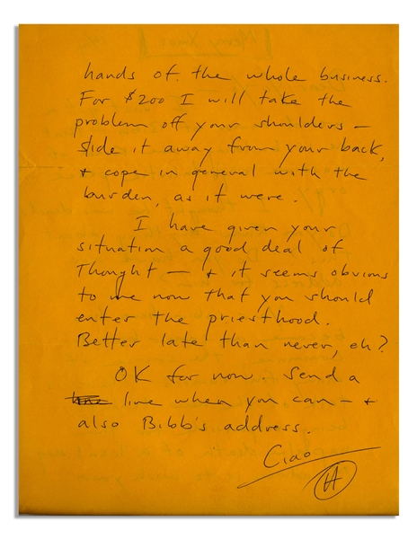 Hunter S. Thompson Autograph Letter Signed -- ''...it seems obvious to me now that you should enter the priesthood...''