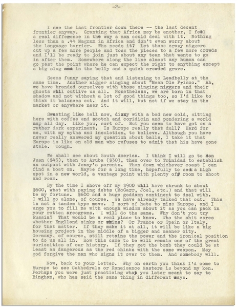 Hunter Thompson 4pp. Letter Signed -- ''you'll have to pardon me for not having the faintest idea what the fuck a trump card is'' & ''a man must literally squeeze his own balls to write a good book''