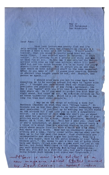 Hunter S. Thompson Letter Signed on 17 May 1965, the Day His Hell's Angels Article Debuted -- ''...I may be on the verge of writing a book...on what they call 'fringe types'...''