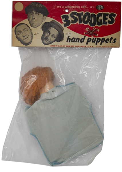 Three Stooges Hand Puppet From 1959 of Larry in Original Ideal Packaging -- 1.5'' Tear to Plastic, Overall Very Good to Near Fine Condition