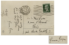James Joyce Autograph Postcard Signed -- Joyce Writes to the Sculptor August Suter