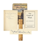 John Steinbeck Signed Copy of The Grapes of Wrath -- Inscribed to the Famous Mexican Filmmaker Emilio Fernandez, -- ...in hope that we will have more grapes than wrath...