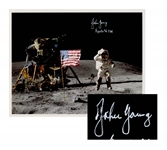 John Young Signed 10 x 8 Photo of Him Standing on the Moon -- With Steve Zarelli COA