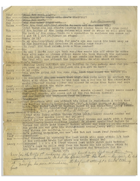 Moe Howard Hand-Annotated ''Knife Throwing Gag'', Circa 1950s -- Two Pages on 1 Sheet, Annotated by Moe in Pencil -- Measures 8.5'' x 11'' -- Very Good Condition