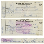 Moe Howard Lot of Two Checks Signed, Both Made Out to Shemps Wife Gertrude Howard -- Dated 5 February 1958 and 8 March 1958 -- -- Measure 7 x 3 -- Very Good Condition