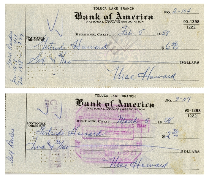 Moe Howard Lot of Two Checks Signed, Both Made Out to Shemp's Wife Gertrude Howard -- Dated 5 February 1958 and 8 March 1958 -- -- Measure 7'' x 3'' -- Very Good Condition