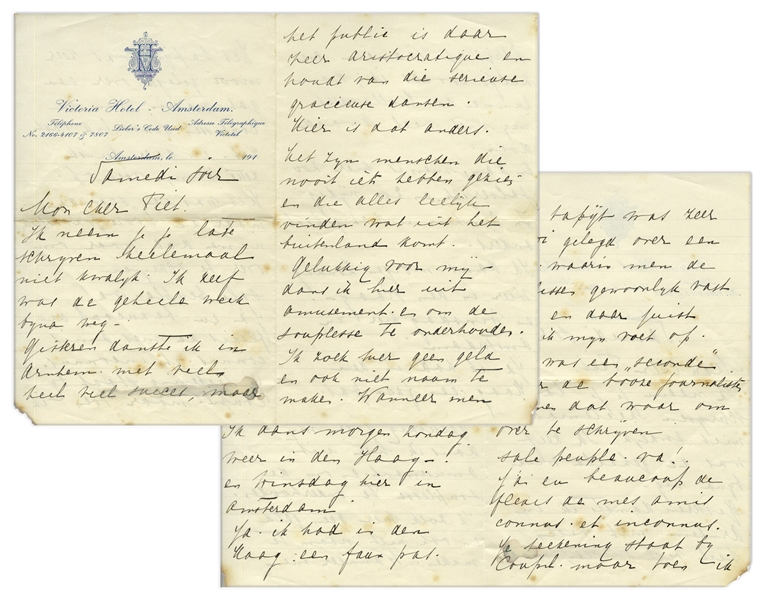 Mata Hari Autograph Letter to Her Lover, Piet van der Hem -- ''...When you have Paris and Vienna etc. like me, then the Dutch can not do me much harm...''