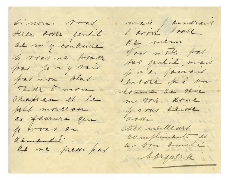 Mata Hari Autograph Letter Signed Regarding Critiques of Her Dancing -- ''...read a bit what these journalist pigs dare to write...''