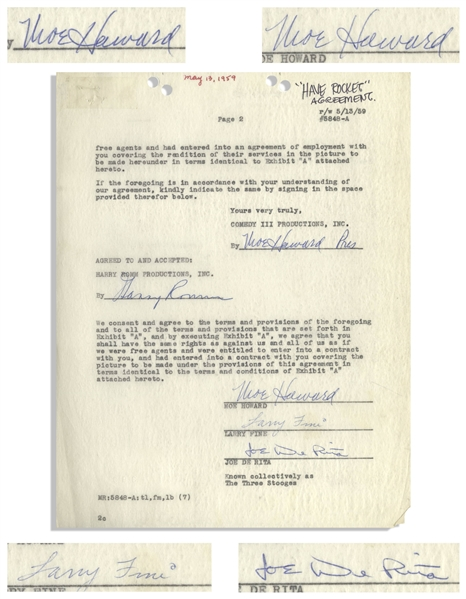 May 1959 Agreement Signed by Larry Fine, Joe DeRita & Twice-Signed by Moe Howard -- Agreement With Their Agent Harry Romm Measures 8.5'' x 11'' -- Page 2 Only, Else Near Fine