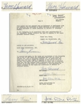 May 1959 Agreement Signed by Larry Fine, Joe DeRita & Twice-Signed by Moe Howard -- Agreement With Their Agent Harry Romm Measures 8.5 x 11 -- Page 2 Only, Else Near Fine
