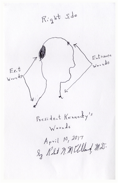 Signed Drawing of ''President Kennedy's Wounds'' by Dr. Robert McClelland, the Physician Who Held President Kennedy's Head at the Dallas Hospital