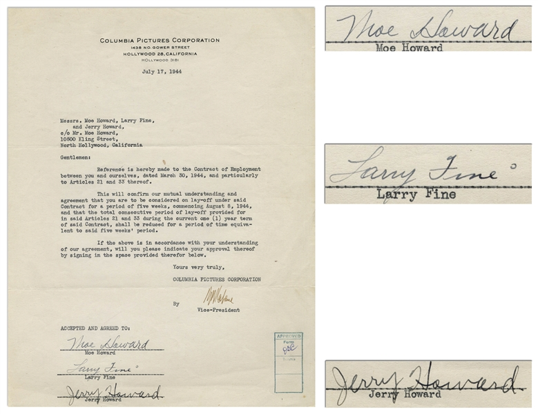 The Three Stooges Signed Agreement With Columbia From 1944, Including Curly's Signature