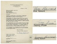 The Three Stooges Signed Agreement With Columbia From 1944, Including Curlys Signature