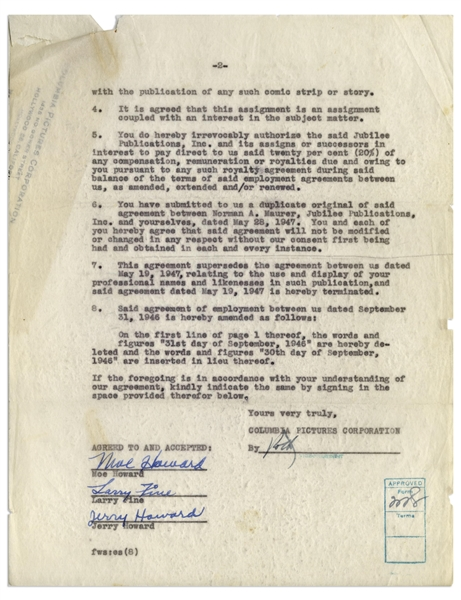 The Three Stooges Signed Agreement With Columbia From 1947, Including Curly's Signature, for Publication of a Comic Strip or Book