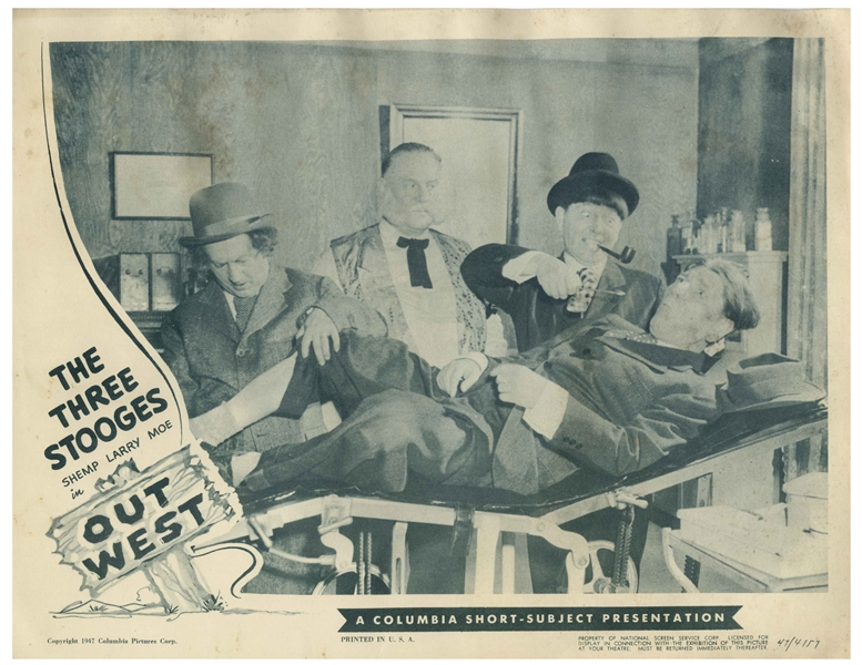 Complete Set of 4 Lobby Cards for the 1947 Three Stooges Film ''Out West'' -- Each Measures 14'' x 11'' -- Mild Toning, Creasing & Wear, With Some Moisture Exposure to Tops; Very Good Condition