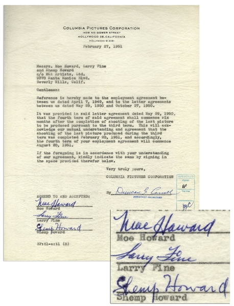 The Three Stooges Signed Agreement With Columbia From 1951, With Shemp's Signature