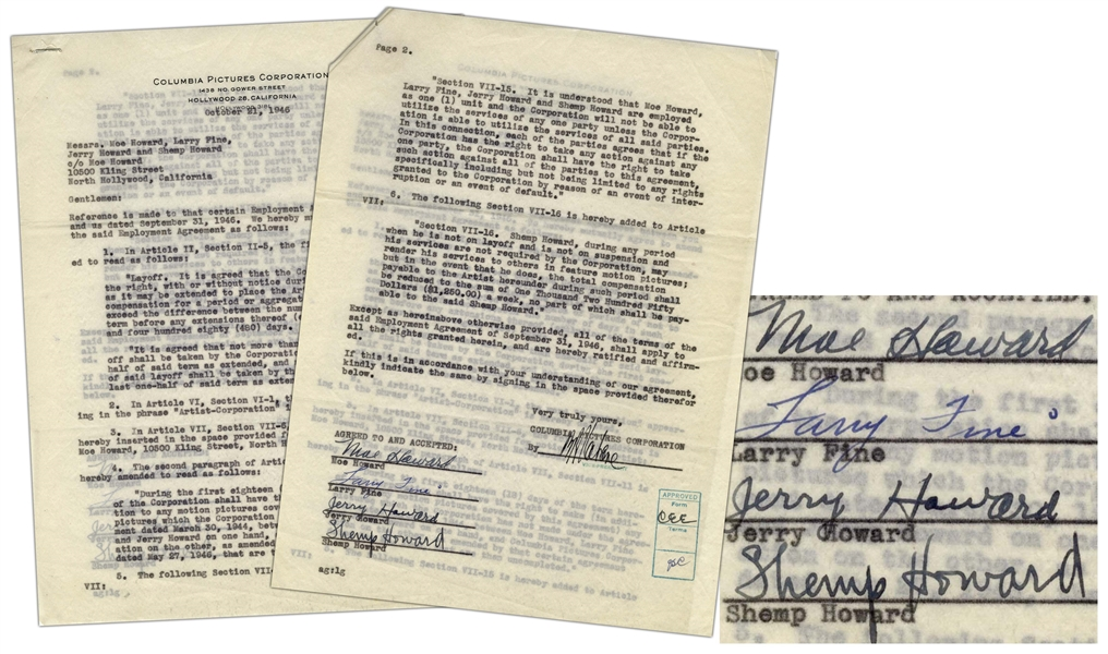 Scarce Three Stooges Agreement With Columbia From 1946 Signed by FOUR Stooges, Moe, Curly, Larry & Shemp -- Moe Howard, Larry Fine, Jerry Howard and Shemp Howard are employed as one (1) unit