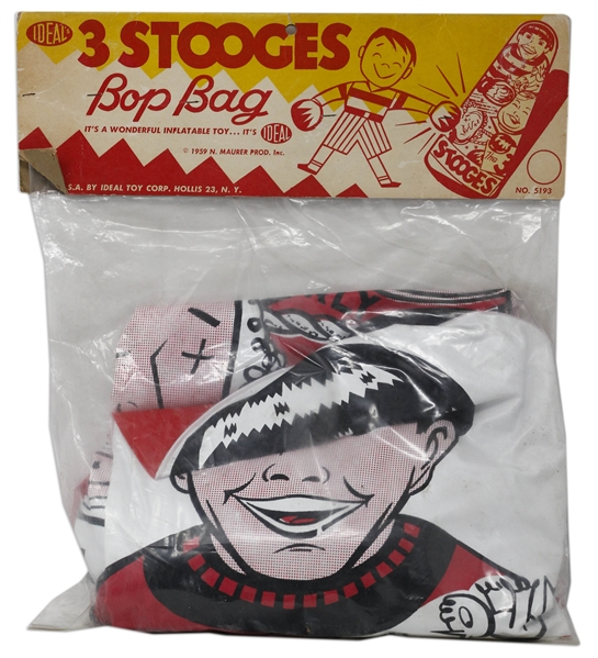 Three Stooges ''Bop Bag'' Inflatable Bag From 1959 by Ideal in Original, Unopened Packaging