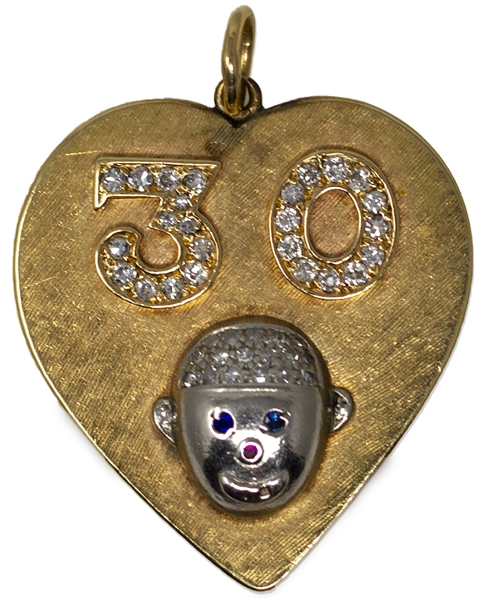 Moe & Helen Howard's 30th Wedding Anniversary Pendant, Accented With Diamonds, Sapphires & Rubies in Both the ''30'' & Moe's Head --  14kt Gold Heart Pendant Measures 1.375'' x 1.5'' -- Very Good