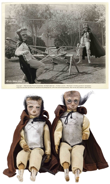 Screen-Used ''Ogg & Zogg'' Puppets From ''Three Stooges in Orbit'' -- Used for Long Shots in Climactic Sequence -- Puppets Measure 3'' x 8.5'' With Metal Stands on Underside -- With 10'' x 8'' Still