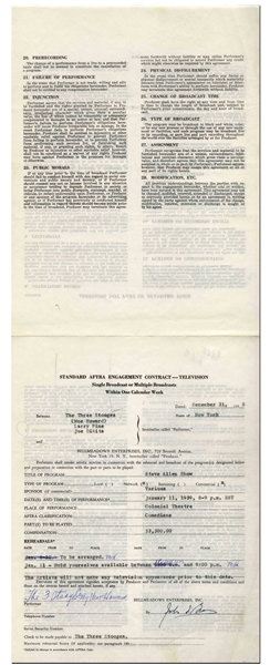 Two Contracts From 1958 and 1959 Signed by Moe Howard, for Appearances by The Three Stooges on The Steve Allen Show -- Signed The 3 Stooges Co. by Moe Howard -- Each Measures 8.5 x 11, Very Good