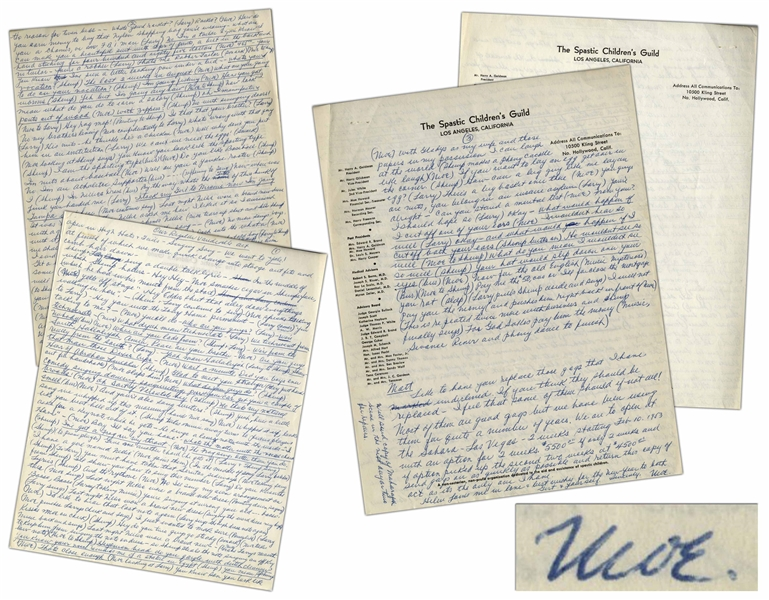 Moe Howard's Handwritten Signed Description of ''Our Regular Vaudeville Act'', Recounting Early Howard, Fine & Howard Theatrical Shows -- Done in Preparation for The Three Stooges 1953 Las Vegas Show