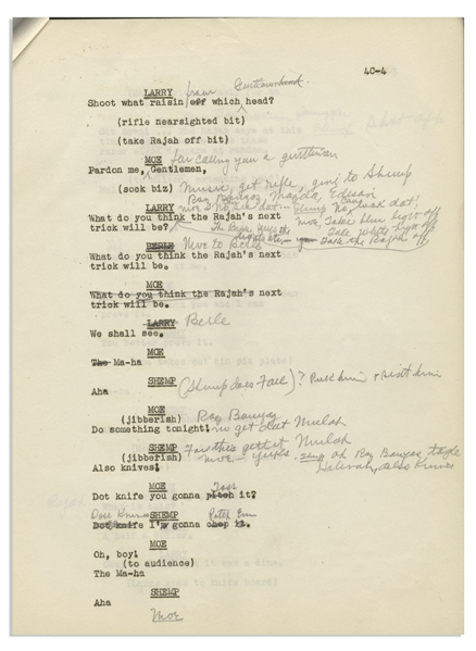 Moe Howard's 50pp. Script of Texaco Star Theater Starring Milton Berle & The Three Stooges With Shemp -- First Draft From 1948 Annotated by Moe With His Signatures -- 8.5 x 11 -- Very Good
