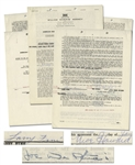 Three Stooges AFTRA Contract Signed by Moe Howard, Larry Fine & Joe DeRita From January 1959 With William Morris Agency -- Plus Initialed Rider -- 5pp. on Three 8.5 x 11 Sheets -- Very Good