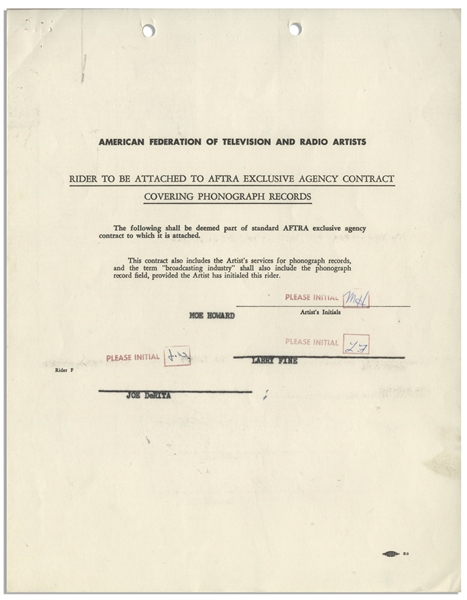Three Stooges AFTRA Contract Signed by Moe Howard, Larry Fine & Joe DeRita From January 1959 With William Morris Agency -- Plus Initialed Rider -- 5pp. on Three 8.5'' x 11'' Sheets -- Very Good
