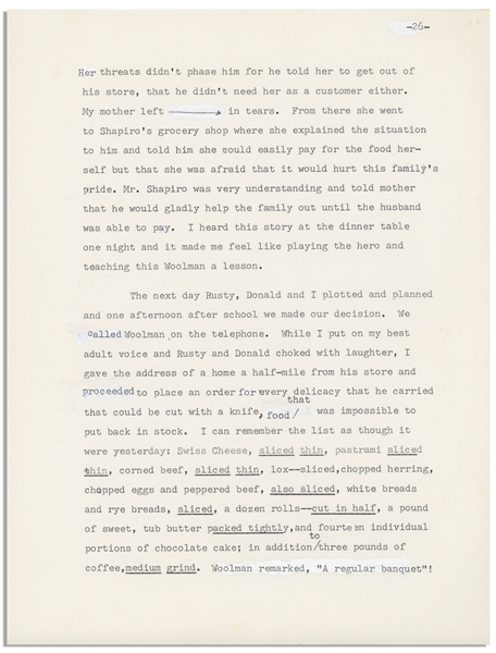 235pp. ''First Draft'', Dated 23 November 1974, of Moe's Autobiography Entitled ''Moe and the Stooges'', With Unpublished Details -- Typed Draft Has Some Annotations by Moe, & White-Out -- Very Good