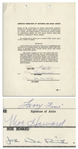 Three Stooges AFTRA Agreement Signed by Moe Howard, Larry Fine & Joe DeRita From January 1959 -- Single Page Measures 8.5 x 11 Sheets -- Very Good Condition