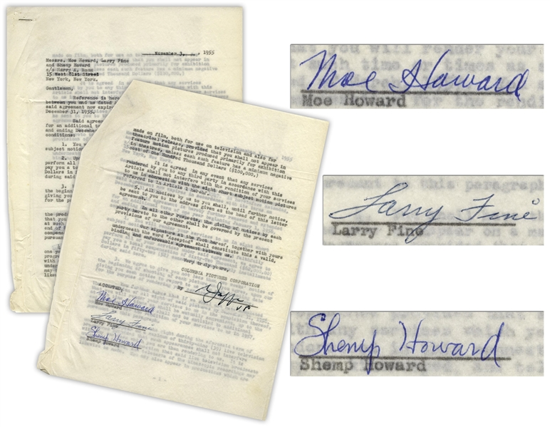 The Three Stooges Signed Contract Renewal With Columbia From 3 November 1955, With Shemp's Signature.  He Died 22 November, 1955