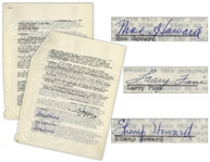 The Three Stooges Signed Contract Renewal With Columbia From 3 November 1955, With Shemps Signature.  He Died 22 November, 1955