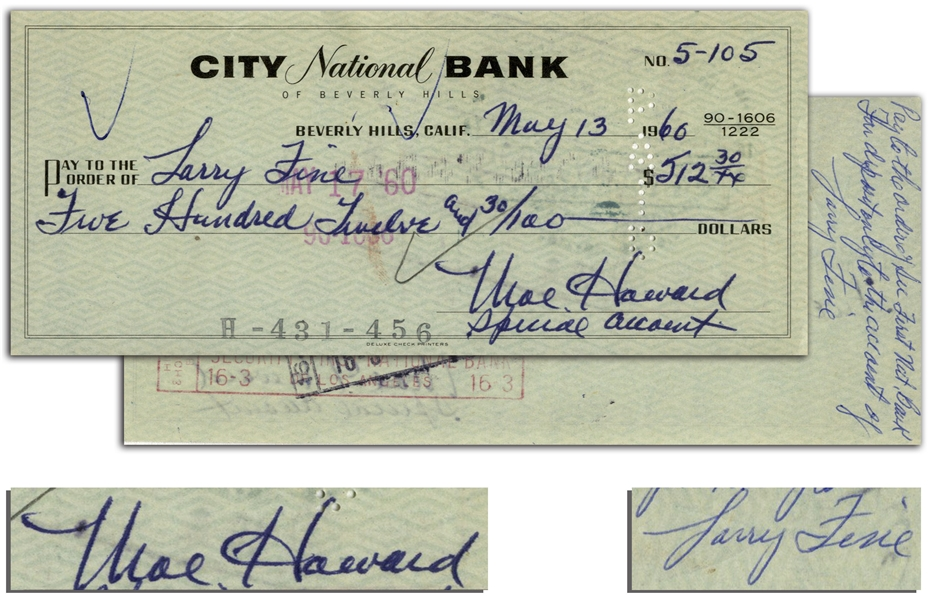 Moe Howard Check Signed to Larry Fine -- Endorsed by Larry on Verso -- Dated 13 May 1960 -- Very Good Condition