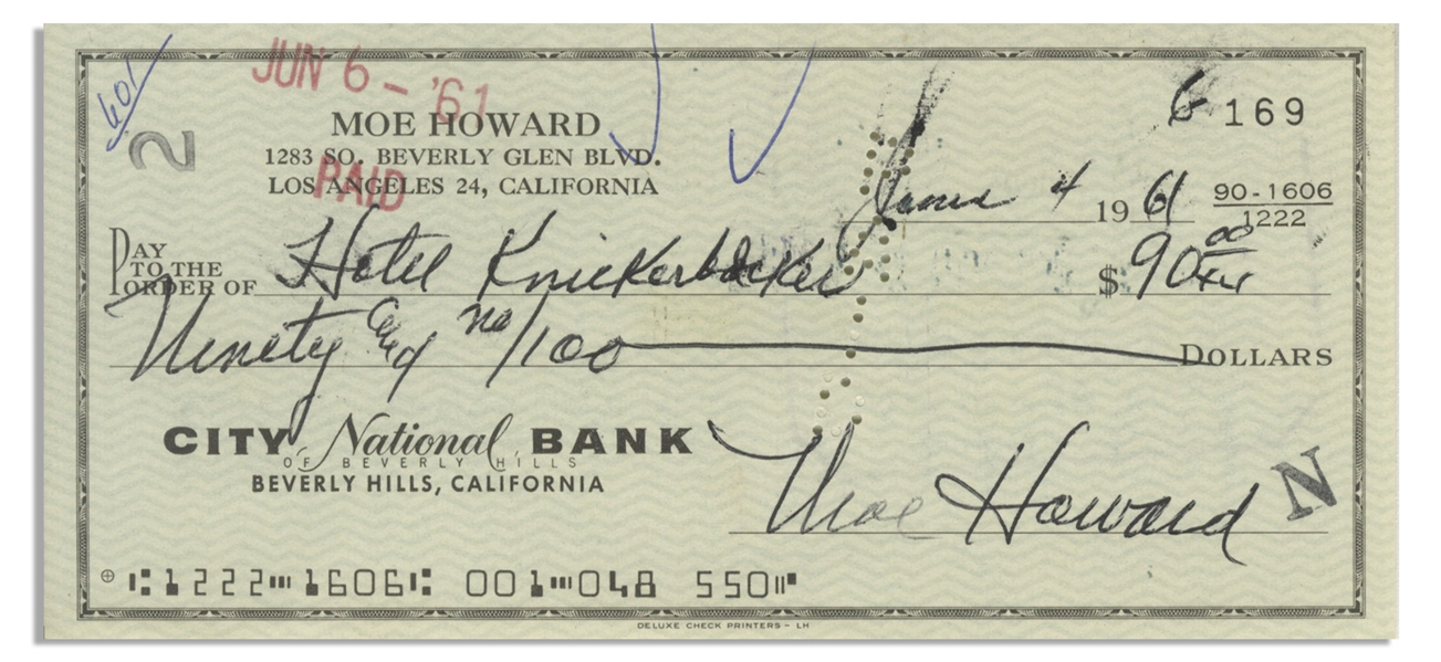 Moe Howard Check Signed, and Then Endorsed by Larry Fine on Verso -- Dated 4 June 1961 to the Hotel Knickerbocker -- Standard Check Size -- Very Good Condition