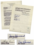 The Three Stooges Signed Agreement With Columbia From 1945, Including Curlys Signature