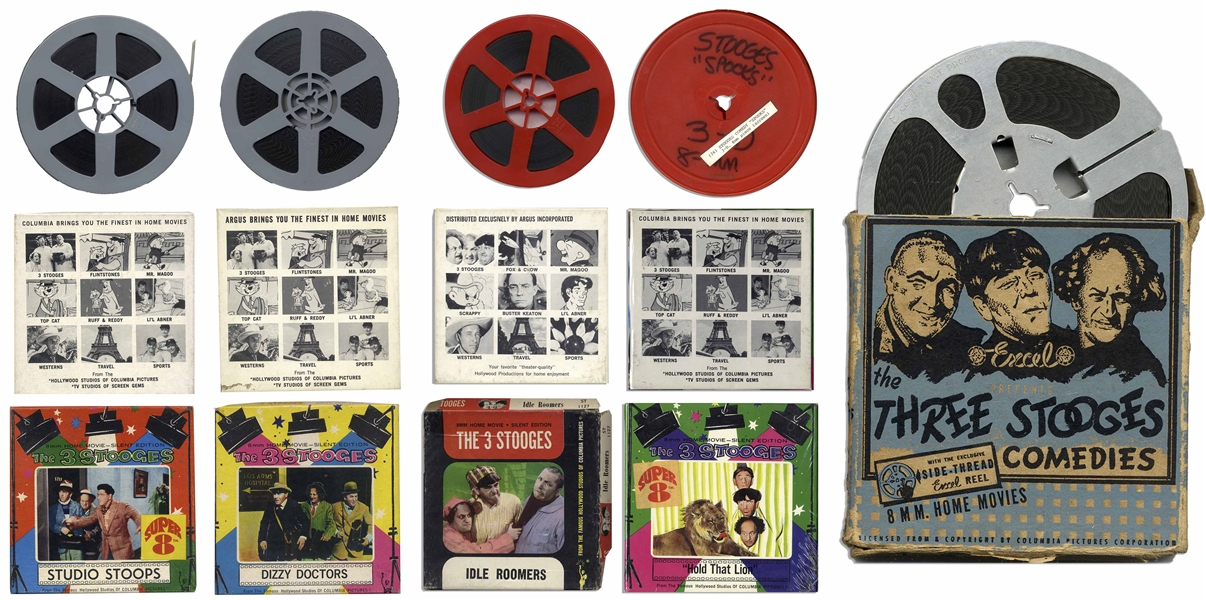 6 Three Stooges Films on 8mm With Rare ''All Hashed Up'' From 1944 -- Plus ''Dizzy Doctors'', ''Idle Roomers'', ''Hold That Lion'', ''Studio Stoops'' & ''Spooks'', Which Lacks Case, Else Very Good