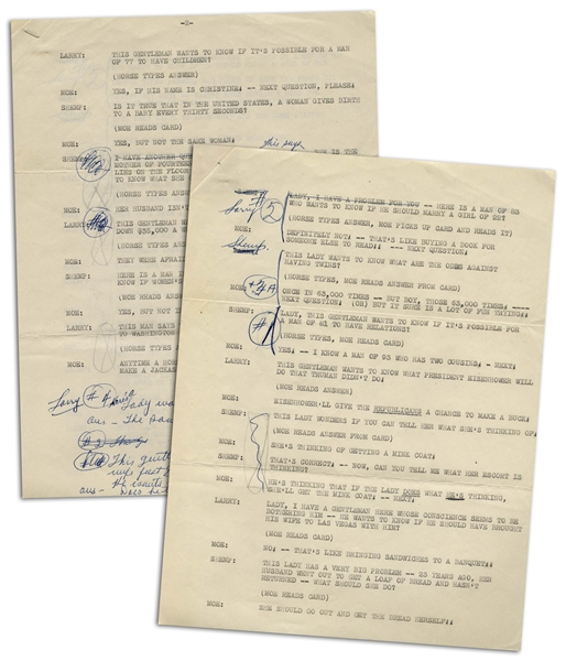Moe Howard 2pp. Script of a Stooges Comedy Sketch Featuring Shemp, Circa 1953 -- With Annotations by Moe -- Script is Stapled With Page #2 on Top, But Likely in Reverse Order & Complete