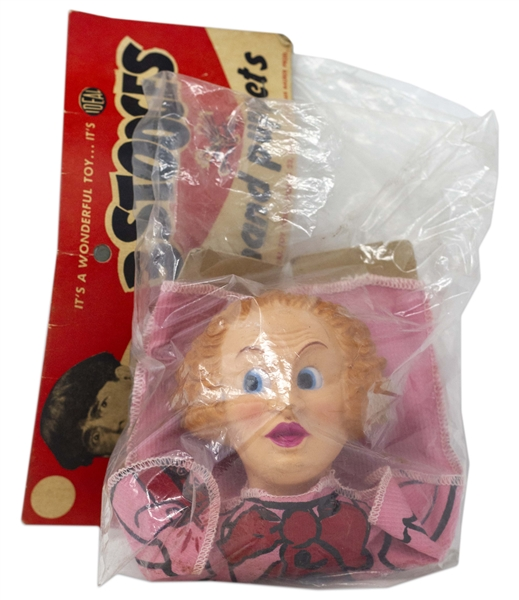 Three Stooges Hand Puppet From 1959 of Larry Fine in Original Ideal Packaging -- Plastic Bag Torn on Side, Puppet Is Near Fine
