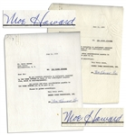 Lot of Two Moe Howard Signed Agreements on Behalf of The Three Stooges to Glen Casino & R-F Theatres, Both Dated June 1959 -- 2pp. Measure 8.5 x 11 -- Very Good