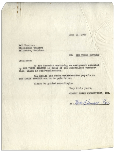 Lot of Two Moe Howard Signed Agreements on Behalf of The Three Stooges to Glen Casino & R-F Theatres, Both Dated June 1959 -- 2pp. Measure 8.5'' x 11'' -- Very Good
