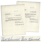 Lot of Two Moe Howard Signed Agreements on Behalf of The Three Stooges to Coral Records & the Albert Rickard Agency, Both Dated June 1959 -- 2pp. Measure 8.5 x 11 -- Very Good