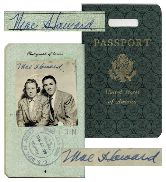 Moe Howard Twice-Signed Passport