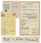 1950 Grant Deed Signed by Moe Moe & Helen Howard; Notice of Completion for His Home Twice-Signed by Moe; Unsigned 1961 Grant Deed -- Various Sizes -- Very Good Condition