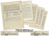The Three Stooges Signed Agency Contract From 1951, With Shemps Signature